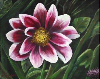 Black Dahlia Impressionist Painting; Gallery Wrapped Canvas; Original Artwork; Size 16x20, 12x16 or 11x14