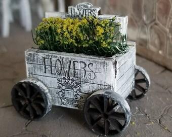 Miniature dollhouse flower cart 1:12 scale