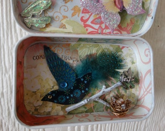 """Altered Altoid Tin Mixed Media assemblage """"Beautiful Things With Wings"""""""