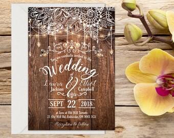 Printed Rustic Wedding Invitation 25 pack, Rustic Wedding Invitation, Rustic wedding, Country Wedding, Printable Wedding, Wedding invitation