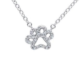14K Petite Diamond Paw Necklace