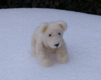 Needle felted polar bear - ornament, decoration, soft sculpture, collectable