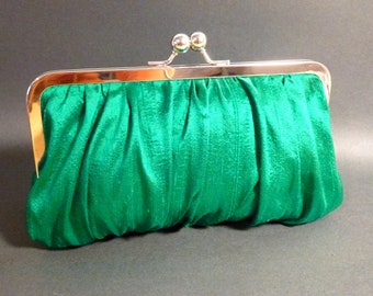 Bridal Clutch or Bridesmaid Clutch Kelly Green Silk Gathered Clutch CUSTOMIZE