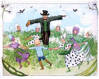 SCARECROW DANCE ! RARE Elsa Beskow Illustration Flower Children. Vintage Fairy Digital Download. Fab Waldorf Nursery Decor.