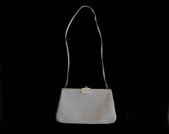 Vintage Handbag - 1970s Vintage - White Leather Shoulder Bag - Faigen