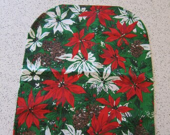 Vintage Christmas Fabric Chair Back Covers. Vintage Christmas Placemat Fabric. 1970s Poinsetta, Pine Cones Christmas Fabric. Vera Style