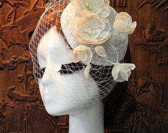 Mini elegant wedding veil hat
