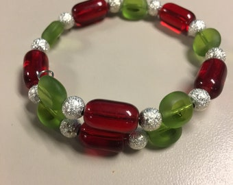 Red, green, and silver beaded bracelet