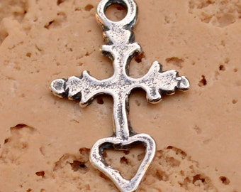 Tiny Milagro Cross with Open Heart in Sterling Silver, R-161, S/1