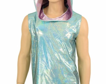 Mens Sleeveless Seafoam Holographic Hoodie with Lilac Holographic Hood Liner and Frostbite Shattered Glass Spikes Holographic Party - 155365