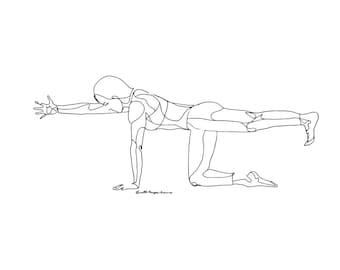 yoga line drawing of eagle pose garudasana