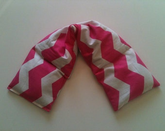 Heat Pack or Cold Therapy Wrap/ Neck Shoulder/ Hot or Cold Pack, Heating Pad, Unscented or Scented -  Pink Chevron