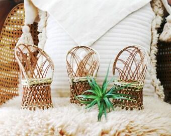 Miniature Rattan Chair/Wicker/Boho/Raffia/Vintage Doll Chair/Plant stand/Photo Prop/boho decor/Wedding DIY