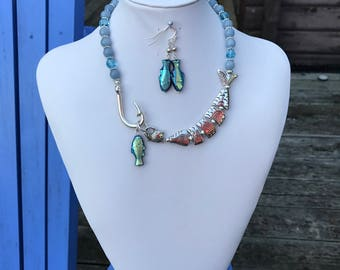 Gone Fishing Earrings & Necklace Set