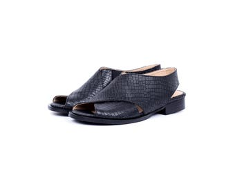 Black leather sandals , women's wide flat sandals, criss cross slingbacks handmade free shipping adikilav