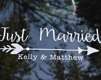 Just Married Decal, Wedding Car Honeymoon Sticker,  Personalized Getaway Car Decal