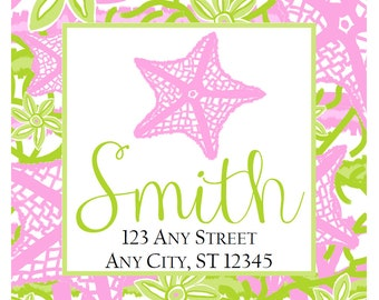 Preppy Starfish Tropical Labels Stickers for Party Favors, Gift Tags, Address Labels