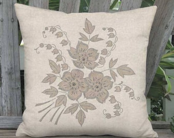 16x16 Inch - READY TO SHIP - Linen Cotton Retro Flower Pillow with Insert - Beige Rustic Grain Sack Style Lily of the Valley Bouquet Pillow