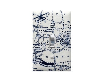 Airplane Light Switch Plate or Outlet Cover / Baby Boy Nursery Bedroom Bathroom / Vintage Map Plane Navy Blue White / Premier Prints