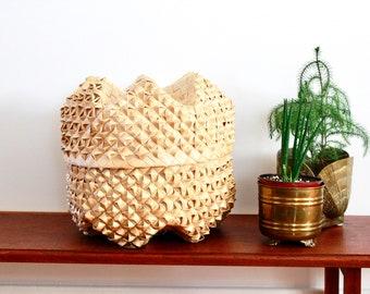 Vintage Boho Woven Basket / Baskets / Basket / Lidded Basket / Unique basket / Vintage Woven Basket