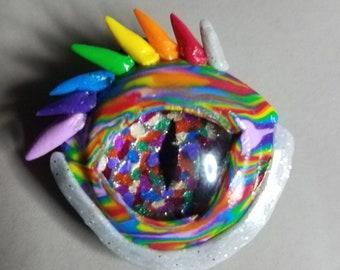 Small Rainbow dragon eye pendant