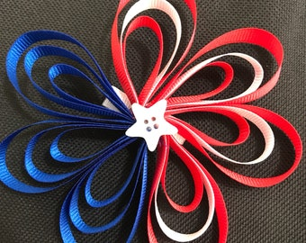 Large red, white, blue hair bow #36