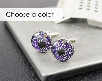 Recycled Computer Circuit Board Cufflinks CHOOSE COLOR, Geeky Jewelry, Wearable Technology Cufflinks, Geeky Wedding, Engineer GIft