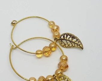 Gold leaf charm hoops