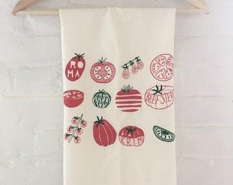 Flour Sack Towel, Tomato Tea Towel, Food Towel, Vegetable Towel, Dish Cloth, Screen Printed Flour Sack Towel