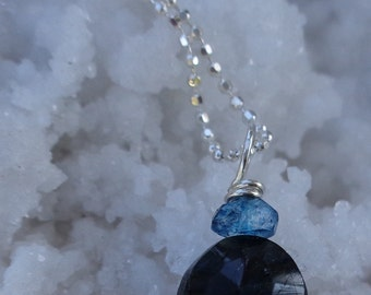 Green Labradorite and Blue Mystic Quartz Sterling Silver Ball Chain Necklace
