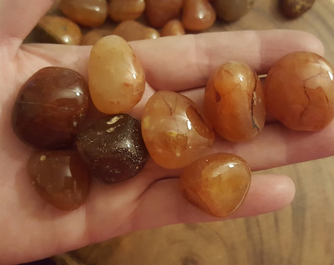 Carnelian ~ 1 large Reiki infused tumbled crystal approx 1-1.2 inches