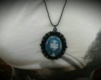Ladies Black Large Pendant The Corpse Bride Vintage Style Gothic Necklace