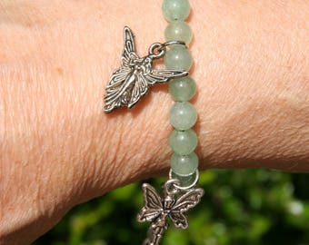 Green aventurine with fairy charm bracelet