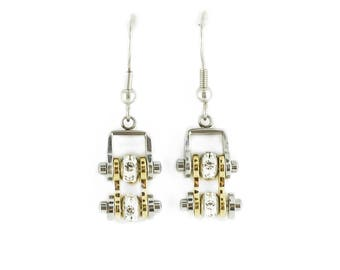 MINI Two Tone Silver Gold With Crystal Centers Bike Chain Earrings Stainless Steel Motorcycle Biker Jewelry