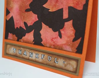 Thankful - Autumn Leaves Thanksgiving Holiday Watercolor Greeting Card