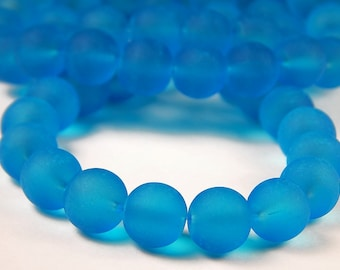 15 Inch Strand - 10mm Round Transparent Dark Turquoise Frosted Glass Beads - Sea Glass Beads - Aquamarine - Glass Beads - Jewelry Supplies