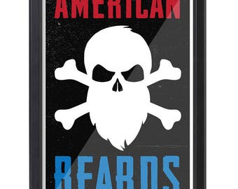 American Beards Poster - Red, White & Blue