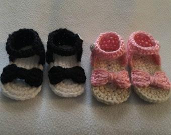 Baby Sandals, Baby Crochet FlipFlops, Summer Sandals, Summer Baby, Bow Sandals