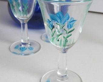 Set of 4 Handpainted Cordials Hand Painted Glassware Stemware Bar Decor Hostess Gift Giving Hand Painted Stemware Bar Cart Decor