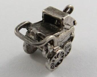 Baby Stroller With Baby Inside Sterling Silver Vintage Charm For Bracelet