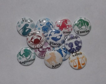 """Zodiac Signs  1"""" buttons (set of 12)"""