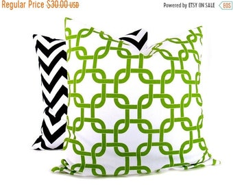 15% Off Sale Throw Pillow Sets. Green and Black . Chevron Pillow.Decorative Throw Pillows. 16x16 inch pillows printed fabric on front and ba