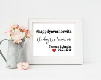Wedding Hashtag Sign   Custom Wedding Hashtag   First Anniversary Gift for Her   Personalized Wedding Gift   Custom Wedding Gift