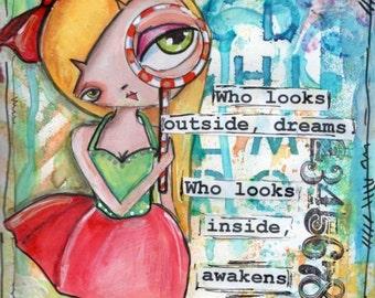 Big eyed girl, Inspirational Art, Children's Art, home decor, Illustration, Cute art, PRINT