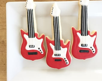 Guitar Cookies, musical cookies, rock and roll, treat bags, dessert table, birthday cookies, electric guitar