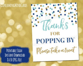 Printable Thanks for Popping By Popcorn Bar Sign 8x10 5x7 Light Blue Dark Blue Gold Glitter Confetti Baby Shower Digital Download