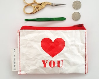 red heart, love you, mothers day, gift for mother, fashion accessories, eco-friendly purse, zipper coin purse, one off item, washable paper