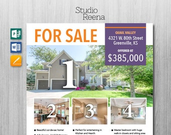 Real Estate – For Sale Flyer Template – Microsoft Publisher, Word and Apple Pages