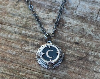 Initial Necklace  Typewriter, Letter C, Vintage Wedding, Teacher Gift Idea