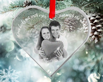 Photo Crystal Ornament - Custom Engraved Picture in Glass, Laser Etching Galss Ornament by Goodcount - SH22
